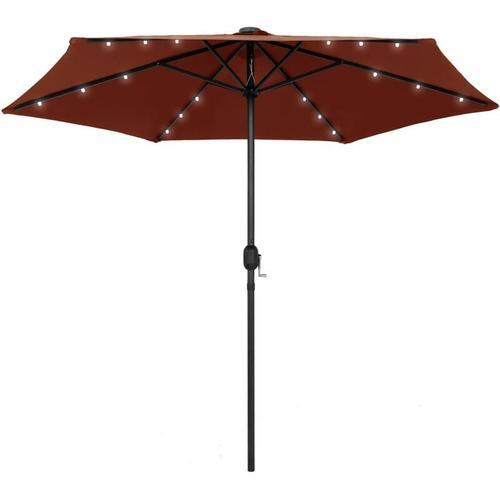 Sonnenschirm mit LED-Leuchten Alu-Mast 270 cm Terracotta-Rot