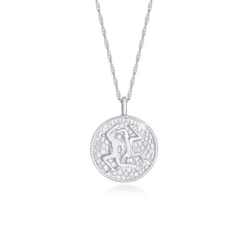 Halskette Sternzeichen Zwilling Münze 925 Silber Elli Silber