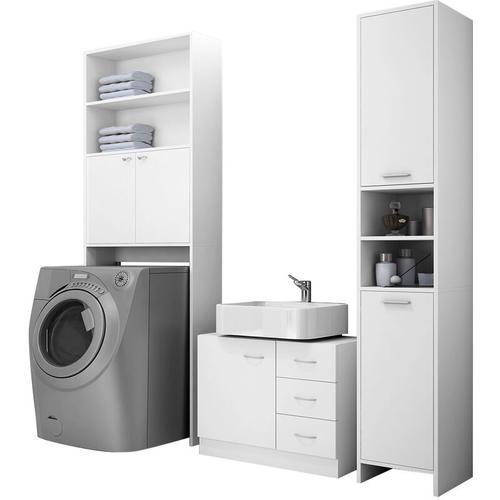 Badmöbel Set Waschbeckenunterschrank Waschmaschinenschrank Hochschrank weiß - Deuba