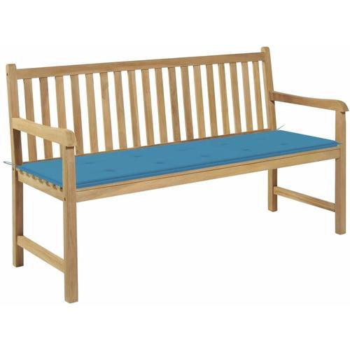 Gartenbank Massivholz Teak mit Blauer Auflage 150cm
