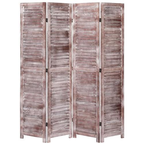 4-tlg. Raumteiler Braun 140×165 cm Holz