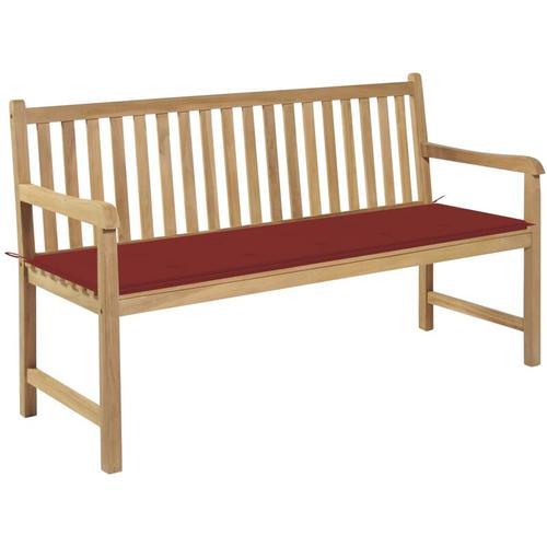 Gartenbank Massivholz Teak mit Roter Auflage 150cm