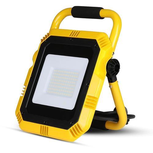 VT-51 LED Arbeitsbeleuchtung/Baustrahler mit Steckdose – 50 W – 4000 Lumen – Schwarz/Gelb – 6400 K