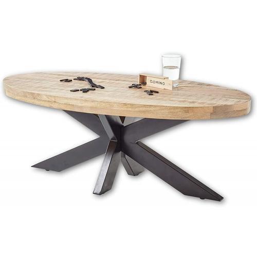 Couchtisch Beistelltisch Wohnzimmertisch MUMBAI Mango Wood / schwarz ca. 120 cm-'SW15736'