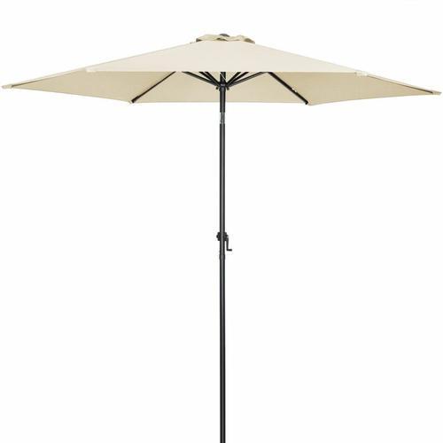 Sonnenschirm 300cm UV-Schutz 50+ wasserabweisend Kurbelsonnenschirm Gartenschirm Marktschirm beige