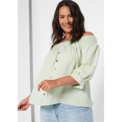 Rue21 Womens Plus Size Light Green Button Front Off The Shoulder Top - Size 2X