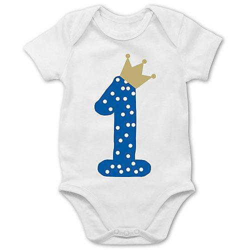 Baby Geburtstag Geburtstagsgeschenk 1. Geburtstag Krone Junge Erster Bodys Kinder weiß Baby