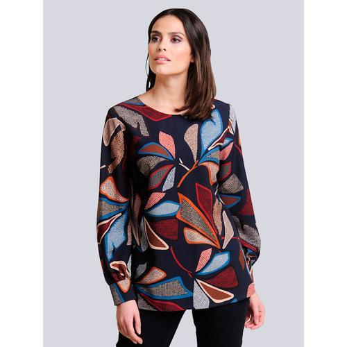 Alba Moda, Bluse mit Blätter Print, blau