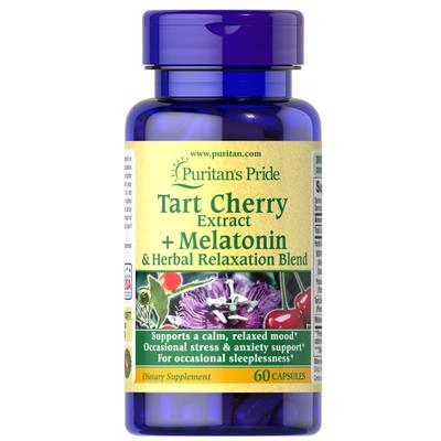 Puritan's Pride Tart Cherry Extract Plus Melatonin & Herbal Relaxation Blend-60 Capsules
