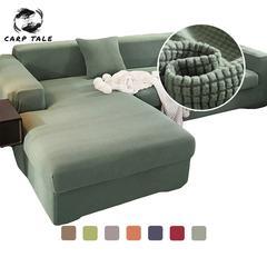Velours canapé couvre pour salon solide sectionnel canapé couverture élastique canapé couverture