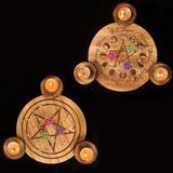 Pentagramme d'astrologie en bois...