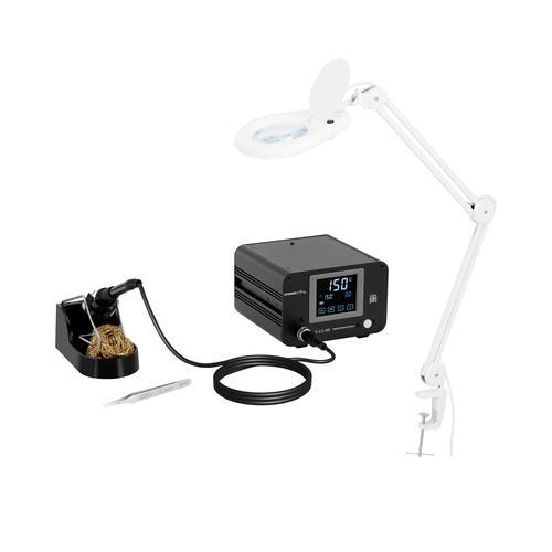 Stamos Soldering Set Lötstation mit Lupenleuchte - digital - 100 W - LCD-Touch S-LS-49-SET