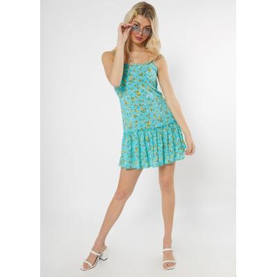 Rue21 Womens Mint Floral Ruffle Trim Dress - Size Xl