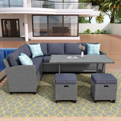 Ottoman Metal Wood Wicker Rattan, Outdoor Sectional Couch With Dining Table