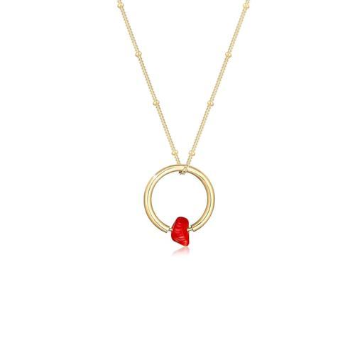 Halskette Kugelkette Kreis Geo Korallen-Bead 925 Silber Elli Gold