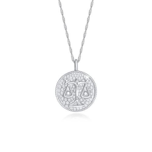 Halskette Sternzeichen Waage Münze 925 Silber Elli Silber