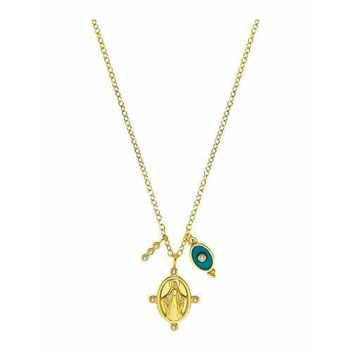 Kette mit Anhänger für Damen, Sterling Silber 925 vergoldet   Marienbild amor Gold