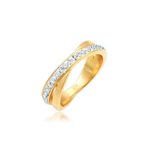 Ring Wickelring Zart Kristalle 925 Silber Elli Gold