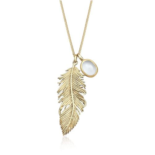 Halskette Feder Boho Mondstein 925 Sterling Silber Elli Gold