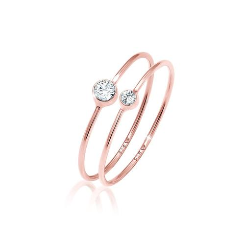 Ring Set Basic Trend Kristalle 925 Silber Elli Rosegold