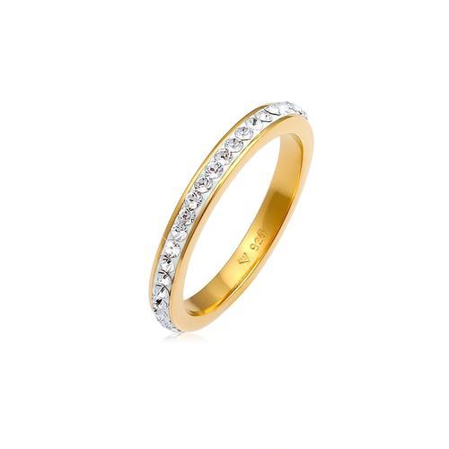 Ring Bandring Kristall 925 Silber Elli Gold