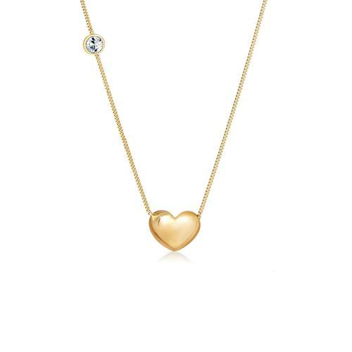 Halskette Herz Solitär Kristalle 925 Silber Elli Gold