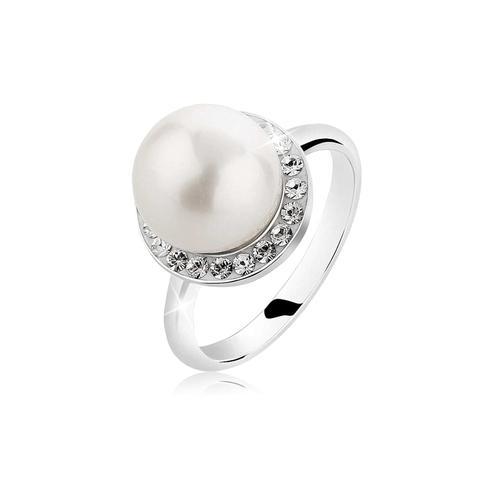 Ring Muschelkern-Perle Kristalle 925 Silber Nenalina Silber