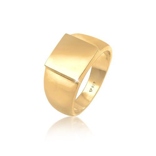 Ring Siegelring Herren Rechteckig Glanz 925 Silber Kuzzoi Gold