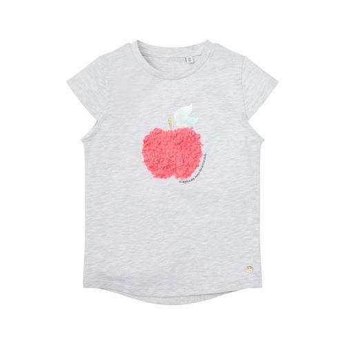 TOM TAILOR Mädchen T-Shirt mit Früchte-Logo, grau, Gr.116/122