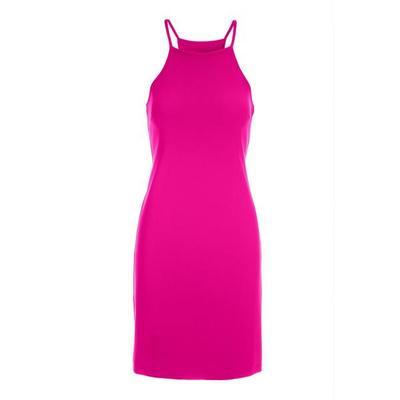 Boston Proper - Beyond Travel High-Neck Short Dress - Hot Pink - Large
