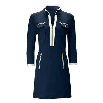 Boston Proper - Three-Quarter Sleeve Chic Zip Dress - Navy/white - Xx Small