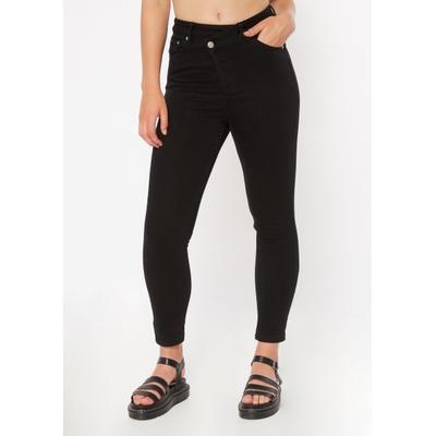 Rue21 Womens Black Asymmetrical Waist Ankle Jeggings - Size 14