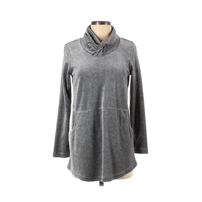 Purejill Sweatshirt: Gray Solid Clothing - Size X-Small Petite
