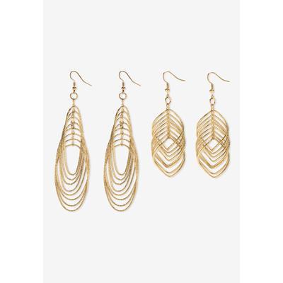 Plus Size Women's Goldtone Diamond Cut 2 Piece Set Drop Earrings (72x24mm) by PalmBeach Jewelry in Gold