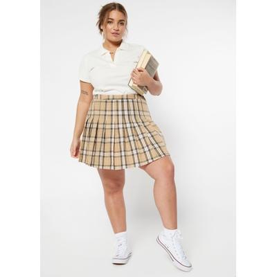 Rue21 Womens Plus Size Taupe Plaid Print Skirt - Size 3X