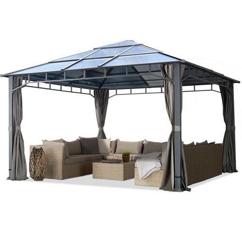 Gartenpavillon ca. 4x4 m Polycarbonat Dach ca. 8mm Pavillon 4 Seitenteile Partyzelt grau ca. 9x9cm