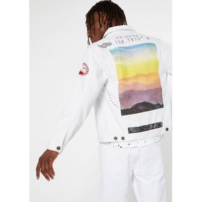 Rue21 Mens White Good Times Ahead Graphic Denim Jacket - Size L