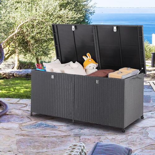 Auflagenbox Poly Rattan XXL schwarz 150cm Hubautomatik Gartentruhe Gartenbox Kissenbox Kissentruhe