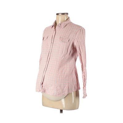 Motherhood Long Sleeve Button Down Shirt: Pink Tops - Size Medium Maternity
