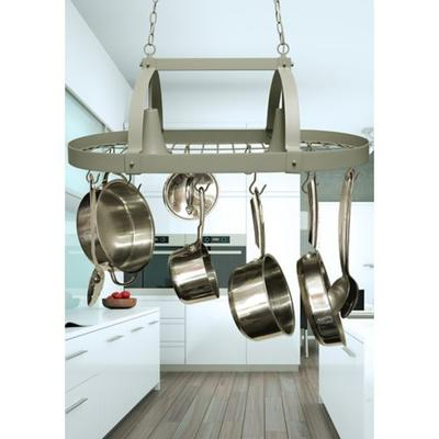 Elegant Designs Home Collection Slate Gray Two Light Kitchen Pot Rack with Downlights