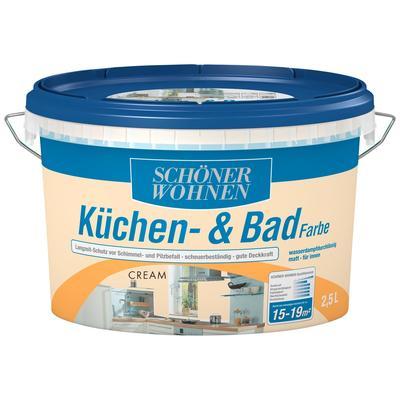 SCHÖNER WOHNEN-Kollektion Feuchtraumfarbe Küche/Badfarbe, cream, 2,5 l beige Farben Lacke Bauen Renovieren