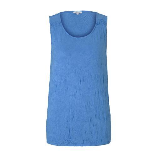 TOM TAILOR Damen Top in Knitteroptik, blau, Gr.XS