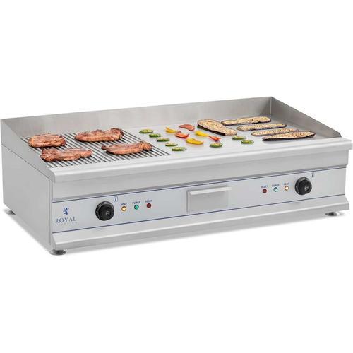 Royal Catering - Elektro Grillplatte Griddleplatte Griddle Bräter Grill 100cm Geriffelt 2 x 3200W