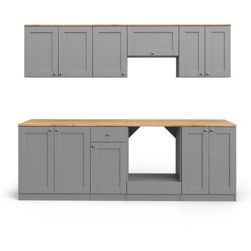 VICCO Küchenzeile Cambridge 240cm Landhaus Stil Einbauküche Komplettküche Küche grau inkl