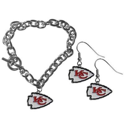 Kansas City Chiefs Chain Bracelet and Dangle Earring Set - Siskiyou Buckle FDEN045CBR