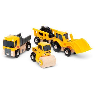 BRIO Spielzeug-Eisenbahn Baustellenfahrzeuge, mit Kipper, Walze und Bagger Anhänger für die Spielzeug-Eisenbahn; FSC - schützt Wald weltweit gelb Kinder Ab 3-5 Jahren Altersempfehlung