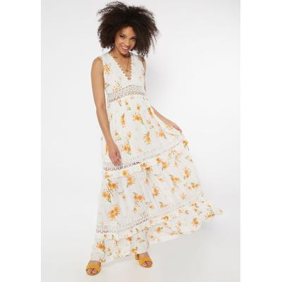 Rue21 Womens White Sunflower Print Crochet Inset Deep V Neck Maxi Dress - Size S