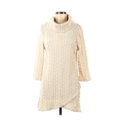Reborn - Reborn Casual Dress - Sweater Dress: Ivory Solid Dresses - Used - Size Medium