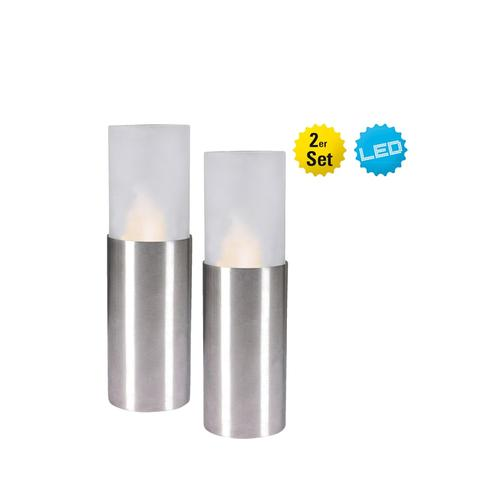 2er Set LED Kerzen Näve Weiß/Metallfarben