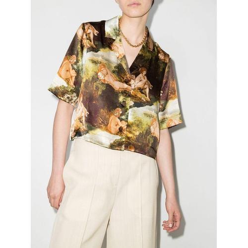 Reformation Cropped-Hemd mit bukolischem Print